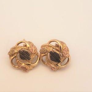 Harley Daidson 14k gold earrings.